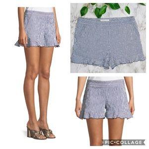 Trina Turk Rocklin Ruffle Hem Seersucker Shorts